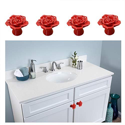 4 Pcs Self-Stick Resin Drawer Cabinet Knobs Pull Handle Drawer Auxiliary Pulls Handle Helper Kitchen Sliding Door Window Wardrobe Handle Sticker Cupboard Knobs (Red)