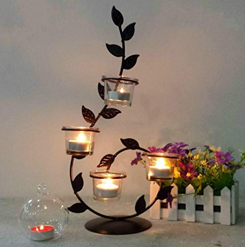 Beetle LLC - 3D Leaf -Shaped Candlestick Metal Candlestick Wall Candle Holder Geometric Tealight Wedding Home Decor Ornaments ()