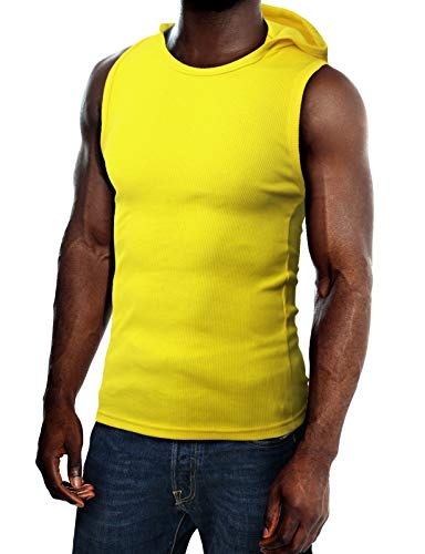 (H2H Mens Cotton Hooded Sleeveless T-Shirts Yellow US XL/Asia XXL (JPSK05))