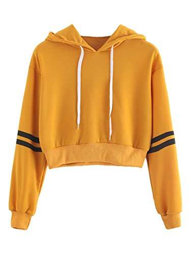 MakeMeChic Women's Striped Long Sleeve Pullover Sweatshirt Crop Top Hoodies Yellow ()