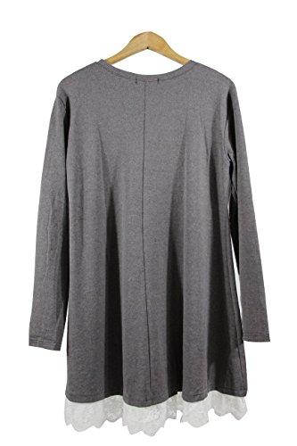 Tunique Shirt Winfon Hiver Manche Taille Top Femme Casual Grande Longue Tee Coton Pull Blouse Gris Longue Affdrq