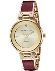 Anne Klein Womens AK/2512BYGB Diamond-Accented Gold-Tone and Burgundy Marbleized Bangle Watch