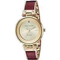 Anne Klein Women's AK/2512BYGB Diamond-Accented Gold-Tone and Burgundy Marbleized Bangle Watch