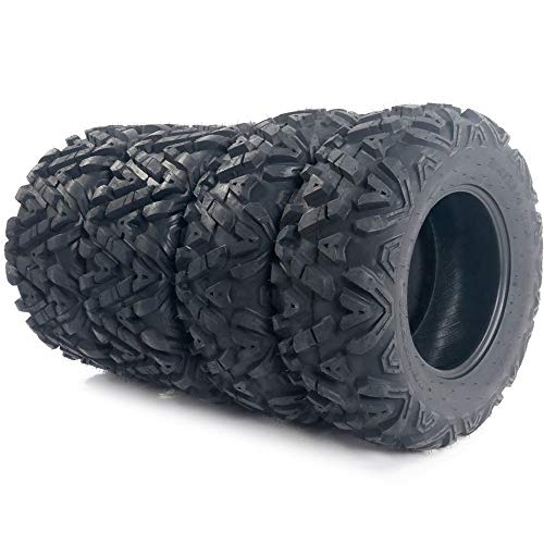 Set of 4 All Terrain Tubeless ATV UTV Tires 25×8-12 Front & 25×10-12 Rear 6PR, Deep Mud, Powerful, Durable, of Performance