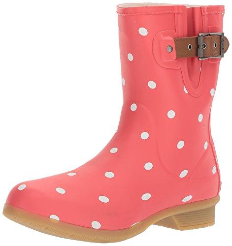 Chooka Women's Memory Foam City Printed Mid Waterproof Rain Boot, Lottie Dot Black Watermelon, 8 M US