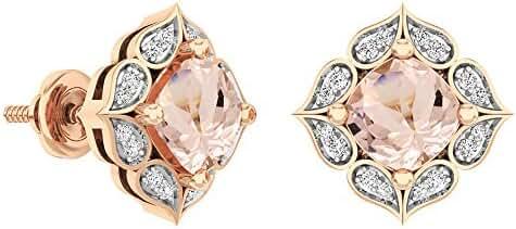 14K Rose Gold Cushion Cut 6 MM Morganite & Round Cut White Diamond Ladies Stud Earrings