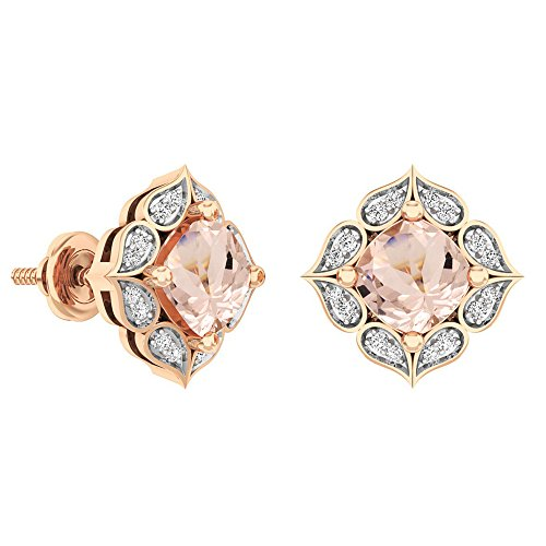 Dazzlingrock Collection 14K 6 MM Each Cushion Gemstone Round White Diamond Ladies Stud Earrings, Rose Gold