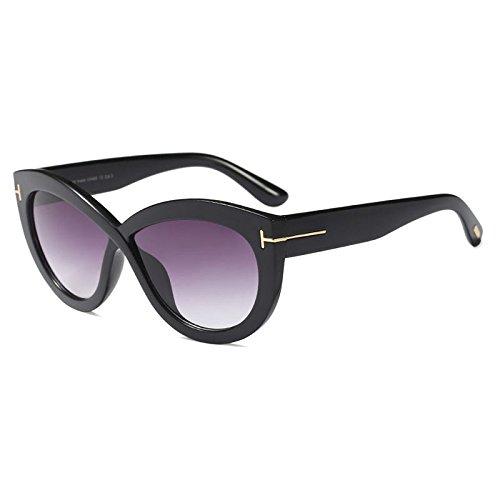 Grand ZHANGYUSEN Motif Cadre Femme UV400 Lunettes Marque Mode Marée T Lunettes de 1 Décoratifs Eyewear de Ovale Soleil pour Soleil Croix Noir wPrxPaYq