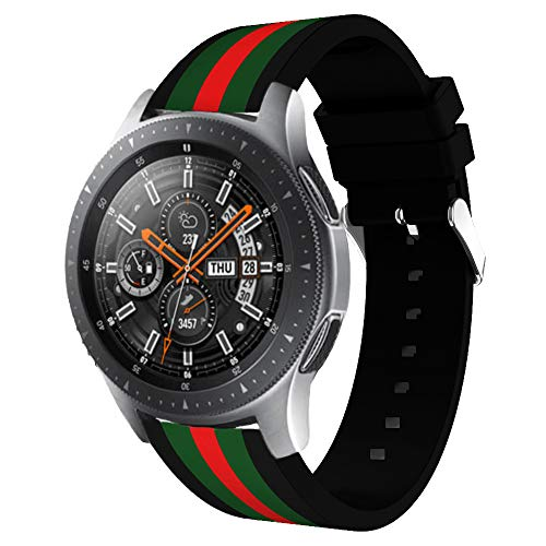 HandyGear Sport Band Compatible Gear S3 Frontier Classic Galaxy Watch 46mm Smart Watch, 22mm Soft Silicone Sports Replacement Strap Samsung Gear S3 Frontier (S3 Black/Green/Red)