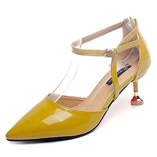 Yellow Tallone Pu Donna Scarpe amp; Gattino Poliuretano Punta Pezzi QOIQNLSN Beige In Rosa Giallo Tacchi Estate Due D'Orsay TwE7x5Bq