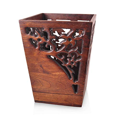 - ZJYSM Wooden Trash Can | Teak Carving Creative Handmade Trash Can | Indoor and Home Use Trash can