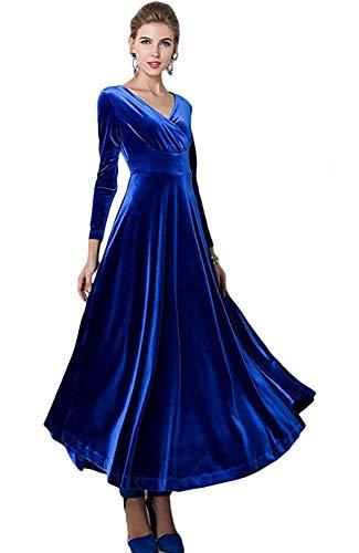 mamak Women Long Sleeve V-Neck Velvet Stretchy Long Dress(Royal Blue-Large) ()