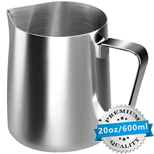 Stainless Steel Milk Frothing Pitcher Cappuccino Pitcher Pouring Jug Espresso Cup Creamer Cup for Latte Art, 20 Ounce (600 ML) (Small Milk Steam Pitcher)