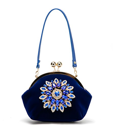 Mother's Day Gift XIANGYI Evening Bag for Women Elegant Rhinestone Floral Purses(Blue)