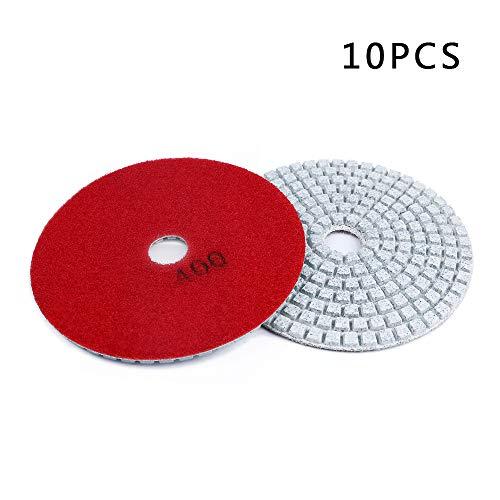 Lucky Monet Diamond Polishing Pads 10pcs Set 4 inch Wet/Dry for Grantie Stone Concrete Marble Polishing Grit 400