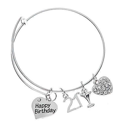 21st Birthday Gifts for Her, 21st Birthday Expandable Charm Bracelet, Adjustable Bangle, Perfect 21st Birthday Gift Ideas