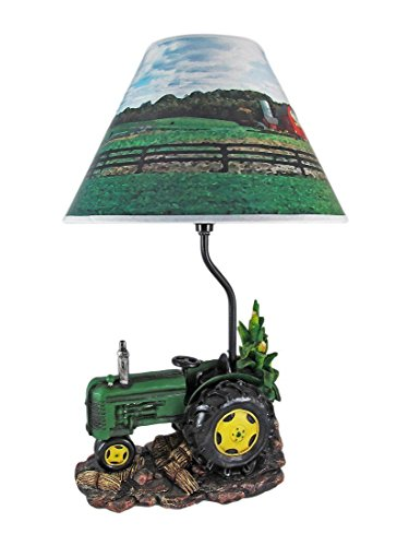 Green Tractor Harvest Season Desktop Table Lamp Figurine (Tractor Harvest)