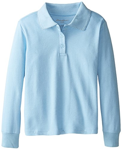 Eddie Bauer Big Girls' Polo Shirt (More Styles Available), Interlock Light Blue-IHICFD, - Polos Girls Solid Pique