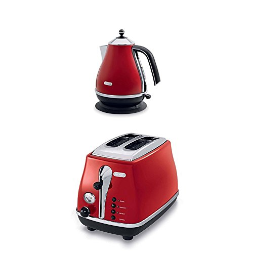DeLonghi Icona Collection 1.7L Electric Kettle and 2 Slice Toaster, Red