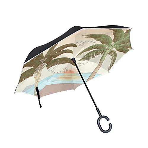 Reverse Umbrella,Sunrise and Palm Tree in Beach of California Inverted Night Reflective Edge Golf Umbrellas,Double Layered Polyester Canopy,O-Shape Handle (California Palms Canopy)