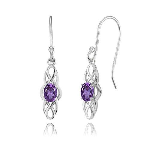 Amethyst Oval Drop Earrings - 1