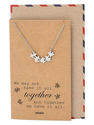 - Quan Jewelry Puzzle Piece Friendship Necklace, Great Mothers Gift Ideas, Sisters and Friends Charm with Inspiring Family Quote Card, Autism Awareness Jewelry