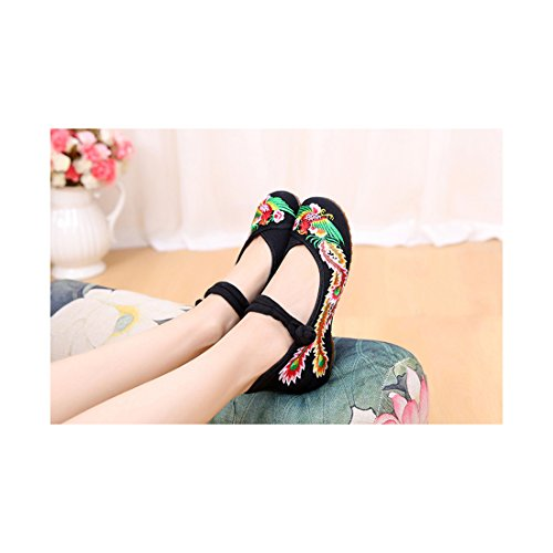 Chaussures Florales Chinoises Brodées Vintage Femme CAIFENG Ballerines Mary Jane Ballerine Flat Ballet Cotton Loafer Noir