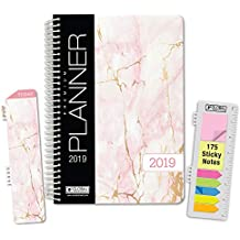 """HARDCOVER Calendar Year 2019 Planner: (November 2018 Through December 2019) 5.5""""x8"""" Daily Weekly Monthly Planner Yearly Agenda. Bonus Bookmark, Pocket Folder and Sticky Note Set (Pink Marble)"""