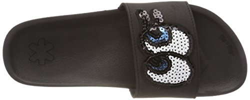 Black Look Noir Pool 0000 Ouvert Bout Femme flip flop Patch 8xtHOwPqa