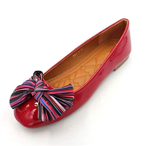 FLYRCX Moda Europea Dulce Arco de Charol Boca Baja Zapatos Planos señoras Zapatos de Trabajo de Oficina Zapatos de Mujer Embarazada Solo Zapatos, 39 UE 36 EU