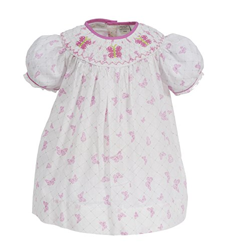 Girls Butterfly Dress Hand Smocked Bishop Collar with Pink Butterflies Short Sleeves