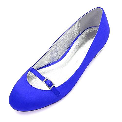 L@YC Frauen 5049-21 Satin Prom Wedding Bridal Sandalen Damen Low Heel Party Schuhe Blue