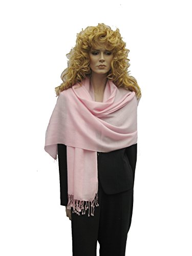 Cashmere Pashmina Group: Solid Pashmina Shawl, Scarf, Wrap & Stole (Large size) Powder Pink Fancy Wool Scarves