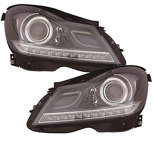 - HEADLIGHTSDEPOT Black Housing Halogen Headlights Projector w/LED Bar Compatible with Mercedes-Benz C250 C300 C350 C63 AMG Includes Left Driver and Right Passenger Side Headlamps