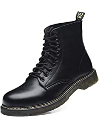Men's Leather Combat Boots Fashion Retro Mid Calf Boots Lace up Mens Work Boots