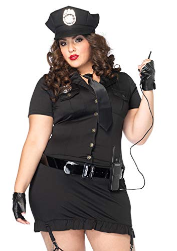 Leg Avenue Women's Plus Size 6pc. Dirty cop incl hat, Dress, Gloves, Belt, tie and walkie Talkie, black, 1X / 2X