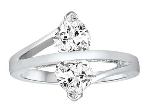 Star K Double Hearts Bypass Ring with Heart-Shape Genuine White (White Topaz Bypass Ring)