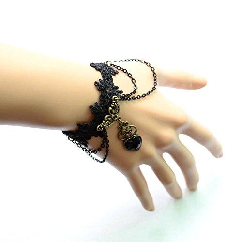 [black floral lace bracelet -the Vampire Diaries Spades Heart pendant charm bracelet - gothic vintage beaded bridal] (Bride Of Dracula Costumes)