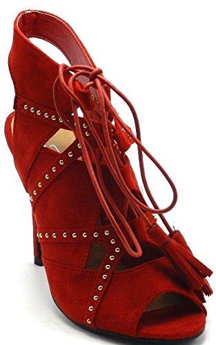 Womens Nieuwe Mode Suède Lace-up Potlood Hak Sandaal Schoenen Nieuw Zonder Doos Rood
