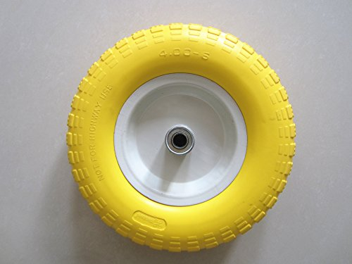 Kunhua-14-pu-y-sz-16-400-6-inch-Flat-Free-Wheelbarrow-Tire-45-inch-Hub-58-inch-Ball-Bearings-13-inch-Tire-Diameter