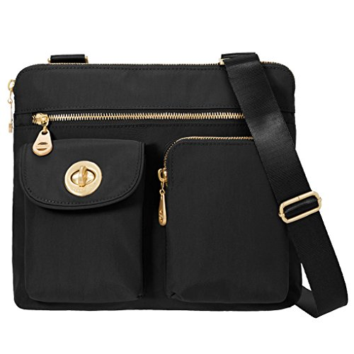 Baggallini Sydney Crossbody Purse for Women - Highly Functional and Organizational Design - Lightweight and Durable for Travel or Everyday Use - Great Shoulder Bag - Perfect Any Outfit (Black/Khaki)