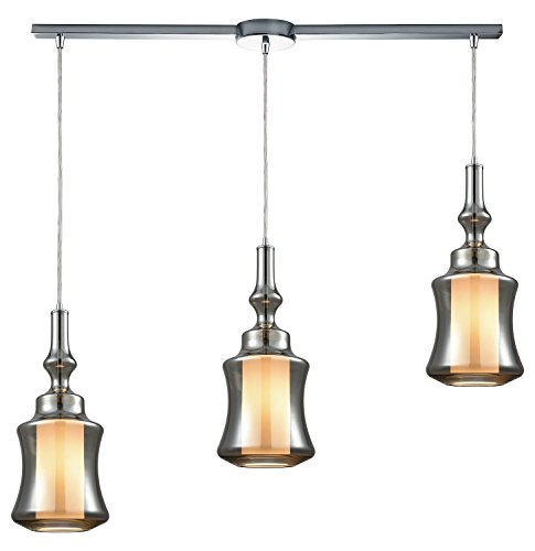 - Alora 3 Light Linear Bar Pendant in Polished Chrome with Opal White Glass Inside Smoke Plated Glass