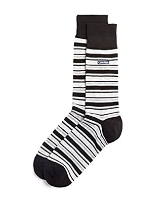 Calvin Klein Men's Luxurious Cotton Striped Crew Socks, Black/White, Shoe Sz 7-12