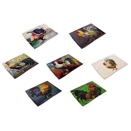 Oil Rooster (HACASO 7 Pieces Cotton Linen Placemats Oil Painting Rooster Pattern Dining Table Mats(2))