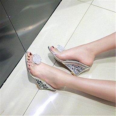 LvYuan Mujer-Tacón Cuña-Zapatos del club Confort-Sandalias-Informal Vestido-Goma-Plata Oro Silver