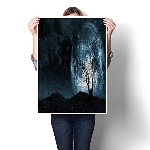DIY 3D Painting,Moon Sky with Tree Silhouette Gothic Halloween Colors Scary Artsy Background Slate Blue Painting,Home Wall Decor,24