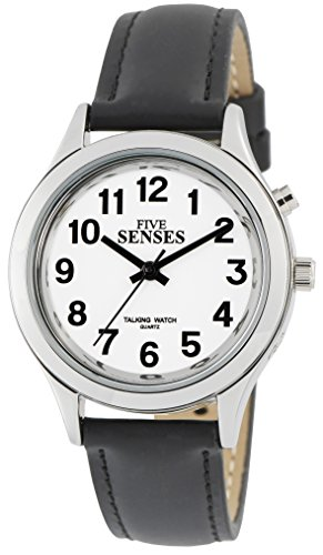 Five Senses talking watch, silver-tone women's watch, black/tan watch band