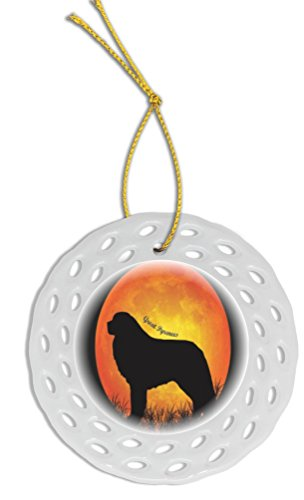Rikki Knight Great Pyrenees Dog Silhouette by Moon Wreath Porcelain (Two-Sided Design) Christmas ()