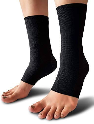 - SB SOX Compression Ankle Brace (Pair) - Great Ankle Support That Stays in Place - for Sprained Ankle and Achilles Tendon Support - Perfect Ankle Sleeve for Sports, Any Use (Solid - Black, Large)