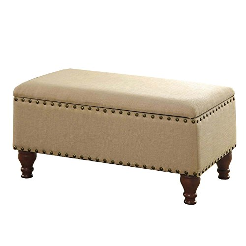 "HomePop Linen Storage Bench with Nailhead Trim and Hinged Lid, 35.5 x 19.5"" x 16.75"", Tan"